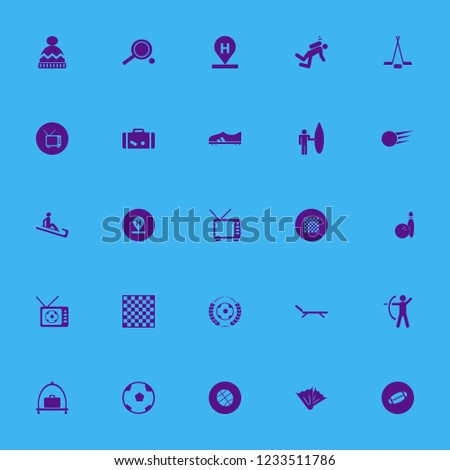 leisure icon. leisure vector icons set suitcase, rugby ball, chess board and hockey