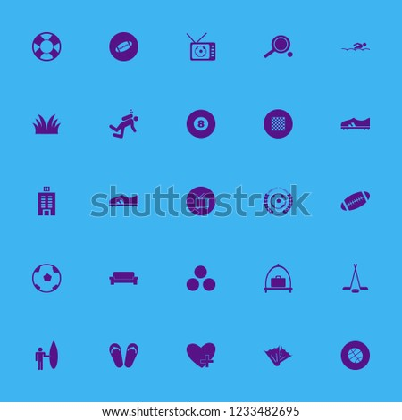 leisure icon. leisure vector icons set surfer with board, tv, beach sneakers and billiard ball