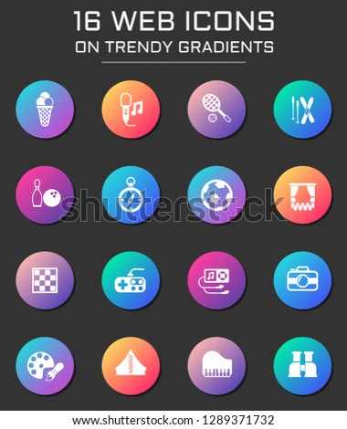 leisure icon set. leisure web icons on round trendy gradients