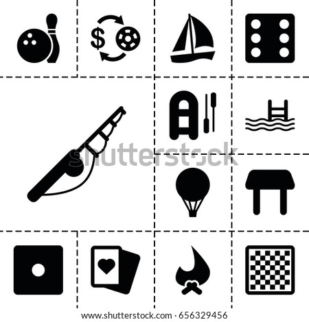 Leisure icon. set of 13 filled leisureicons such as table, casino chip and money, dice, spades, pool, bowling, air balloon, chess board, fishing rod, inflatable boat, bonfire