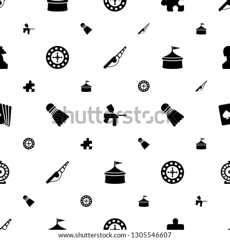 leisure icons pattern seamless white background. Included editable filled fishing rod, paintball, puzzle, Roulette, Shuttlecock, circus icons. leisure icons for web and mobile.