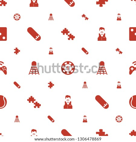leisure icons pattern seamless white background. Included editable filled puzzle, casino chip, skate board, shuttlecock, Casino boy, joystick icons. leisure icons for web and mobile.