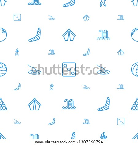 leisure icons pattern seamless white background. Included editable outline tent, Dice, baseball player, boomerang, fishing, swimming pool icons. leisure icons for web and mobile.
