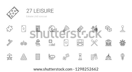 leisure icons set. Collection of leisure with domino, chess piece, dice, snorkel, beach towel, pool, rest area, oar, console, ace of hearts. Editable and scalable leisure icons.