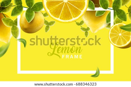lemon and green leaves frame
