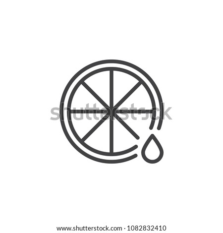Lemon and juice drop outline icon. linear style sign for mobile concept and web design. Natural Vitamin C simple line vector icon. Symbol, logo illustration. Pixel perfect vector graphics