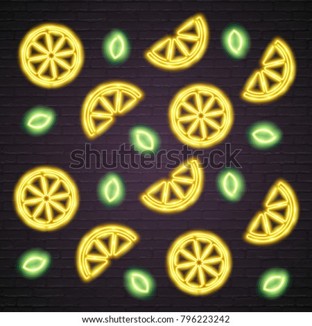 Lemon and Leaf Neon Light Glowing Yellow, Green Bright Light with Dark Background