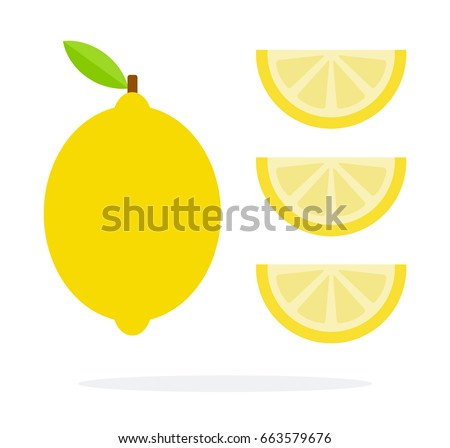 Lemon and three slices of lemon vertically vector flat material design isolated on white