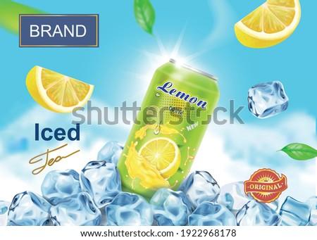 Lemon drink advertising poster design banner with aluminium can on ice cubes, lemon slices, citrus juice splashing. realistic iced tea ads vector.