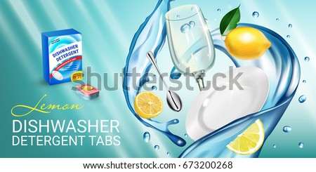 Lemon fragrance dishwasher detergent tabs ads. Vector realistic Illustration with dishes in water splash and citrus fruits. Horizontal banner