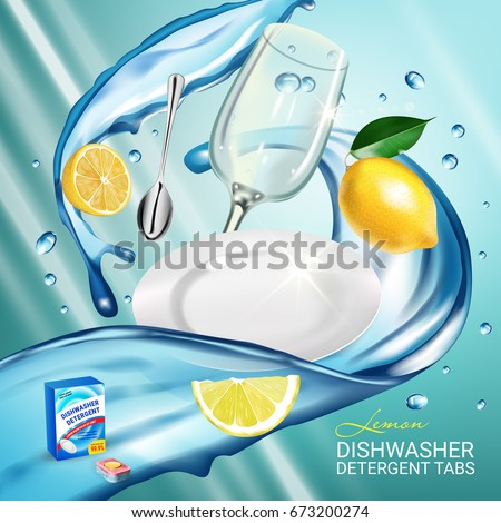 Lemon fragrance dishwasher detergent tabs ads. Vector realistic Illustration with dishes in water splash and citrus fruits. Poster
