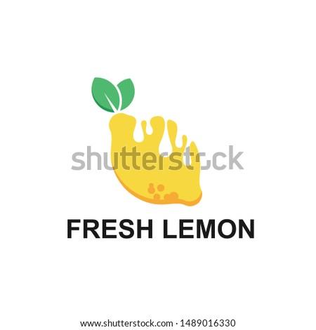 Lemon Fresh logo. Fresh lemon fruits on summer season. Summer fruit