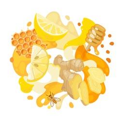 Lemon, ginger and honey on abstract background. Vector illustration