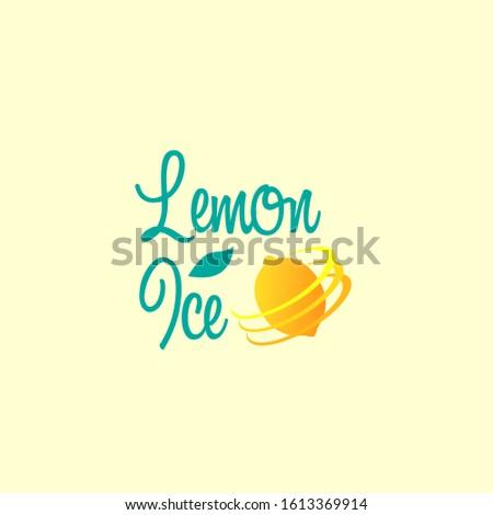 lemon ice logo icon with lemon fruit vector illustration for juice company or beverages menu