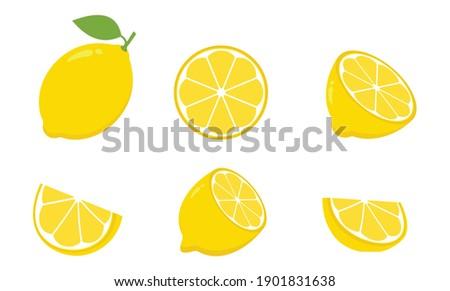 lemon Icon set, collection Fresh lemon fruits isolated on white background, Lemon slice vector illustration