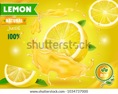 Lemon juice advertising Citrus with realistic fresh fruit. Vector ads design packaging