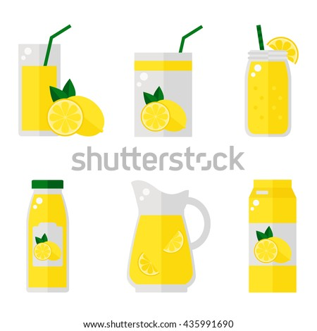 lemon juice isolated icons on