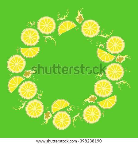 Lemon. Juicy fruit. Fruit splashes and drops. Spots juice. Frame.