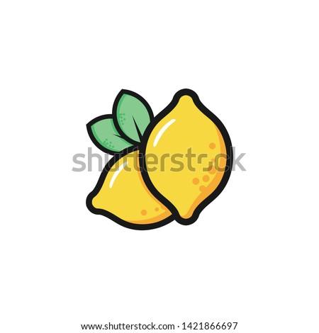 Lemon logo. Fresh lemon fruits on summer season. Summer fruit