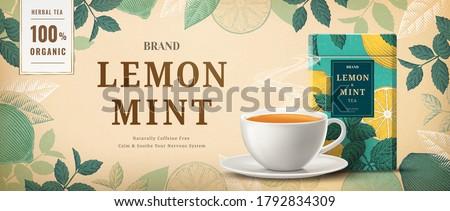 Lemon mint tea banner ads with engraving ingredients frame, 3d illustration tea cup and packaging