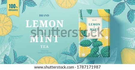 Lemon mint tea paper can packaging lying on exquisite engraving banner background