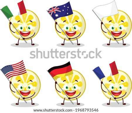 Lemon slice cartoon character bring the flags of various countries Zdjęcia stock ©