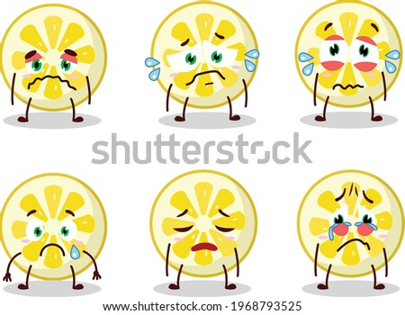 Lemon slice cartoon character with sad expression Zdjęcia stock ©