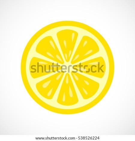 Lemon slice vector icon illustration isolated on white background. Lemon eps icon clip art.