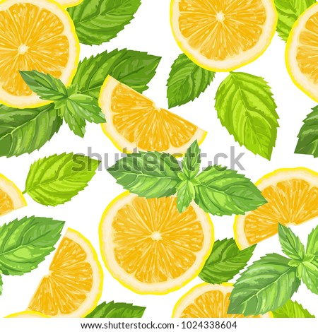 lemon slices and mint leaves