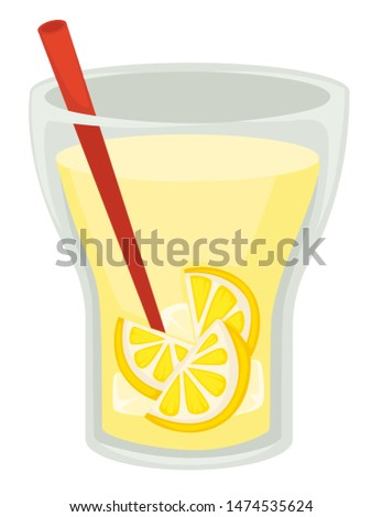 Lemon slices in beverage lemonade drink in cup with straw vector isolated glass homemade natural refreshment summer citrus cocktail, in glass container fruit organic ingredient and sour taste