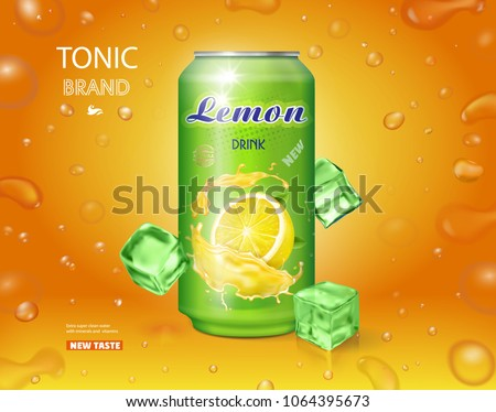 Lemon soft drink advertising. Lemonade can ads design Vector