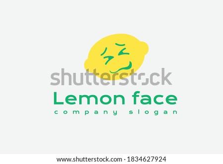 lemon sour face reaction company logo concept design.lemon sour face.lemon face company logo. Photo stock ©