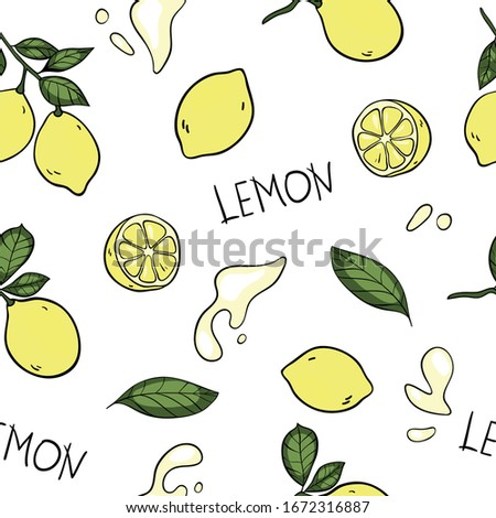 """Lemon vector seamless pattern with lemons on branch, cut lemon, lemon leaves, splashes of juice, lettering """"lemon"""" in cartoon style. Repeated background for textile design, printed and web products."""