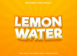 lemon water text effect template with 3d bold style use for logo and business brand