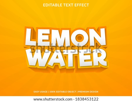 lemon water text effect template with 3d bold style use for logo and business brand Stock photo ©