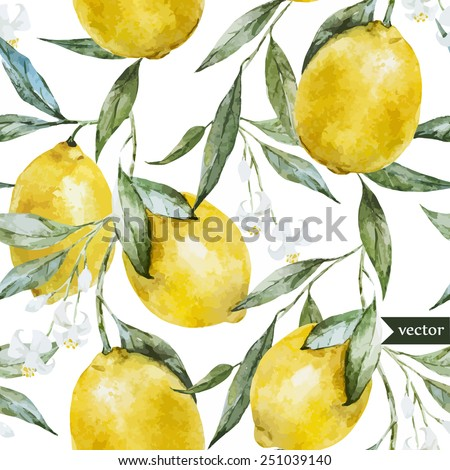 lemon  watercolor pattern