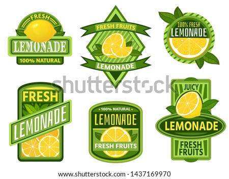 Lemonade badges. Lemon drink emblem badge, fresh fruits lemons juice vintage lemonades emblems. Drinks bars sticker, detox lemonade or fruits fresh juicy lemon label. Isolated vector icons set #1437169970
