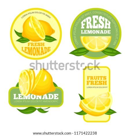 Lemonade badges. Lemon juice or fruit syrup lemonade vector labels or logo illustrations. Lemonade juice and lemon drink