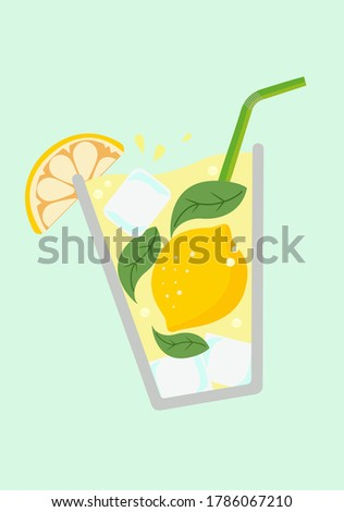 Lemonade glass. Fresh juice. Lemonade isolated. Lemon juice. Cocktail.  Summer. Mojito. Lemonade. Citrus. Cold lemonade.