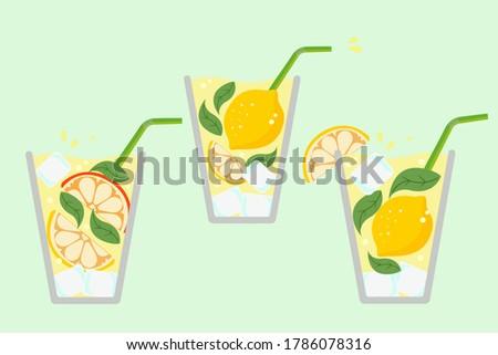 Lemonade glass. Fresh juice. Lemonade isolated. Lemon juice. Cocktail.  Summer. Mojito. Lemonade. Citrus. Cold lemonade. Beverage.