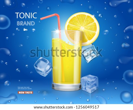 lemonade glass with ice cubes