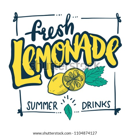 Lemonade hand drawn vector lettering. Summer fresh drink. Modern calligraphy. Vector illustration isolated on background.
