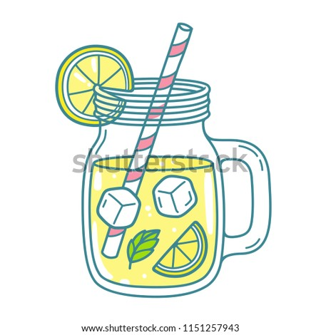 Lemonade in mason jar mug with drinking straw and lemon wedge. Refreshing summer drink vector clip art illustration, doodle style drawing.