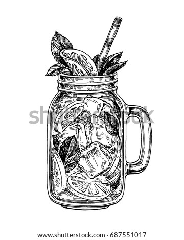 lemonade in mason jar.  Retro style ink sketch isolated on white background. Hand drawn vector illustration.