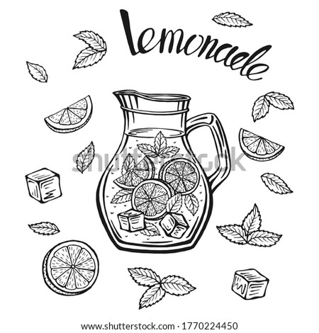 Lemonade jug with ice and a slice of lemon and a straw and mint leaves, lemonade sketch in a glass, hand drawing of a lemonade Cup, homemade lemonade lettering, isolated vector illustrations.