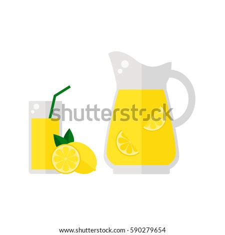 Lemonade juice icon isolated on white background. Glass with straw, pitcher and lemon fruit. Refreshing drink. Flat vector illustration design.