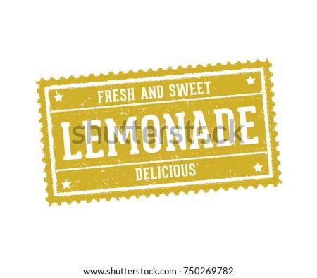 lemonade, lemon juice beverage drink sign logo stamp