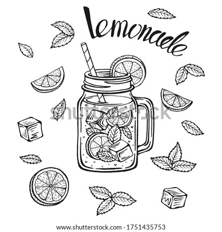 Lemonade mug with ice and a slice of lemon and a straw and mint leaves, lemonade sketch in a glass, hand drawing of a lemonade Cup, homemade lemonade lettering, isolated vector illustrations.
