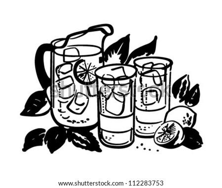 Lemonade Pitcher And Glasses - Retro Clipart Illustration - stock vector