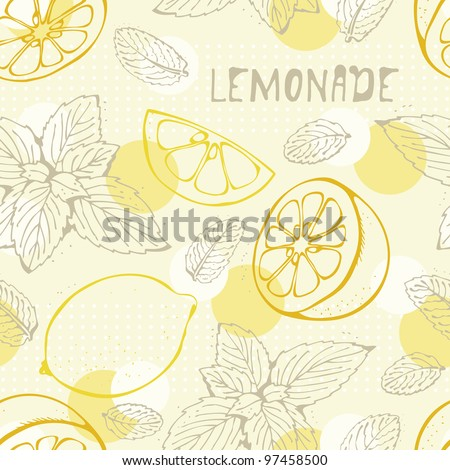 Lemonade seamless vector background with yellow lemons - stock vector